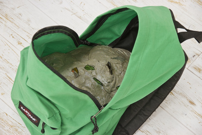 brendan-lynch-untitled-2011-jansport-backpack-concrete-glitter-broken-glass-green-45x45x35cm