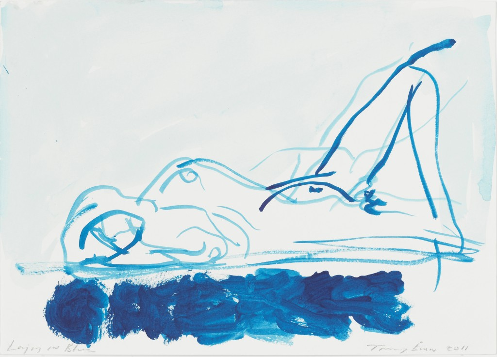 tracey-emin-laying-on-blue-2011-gouache-on-paper-c2a9-the-artist-courtesy-of-white-cube-photo-ben-westoby