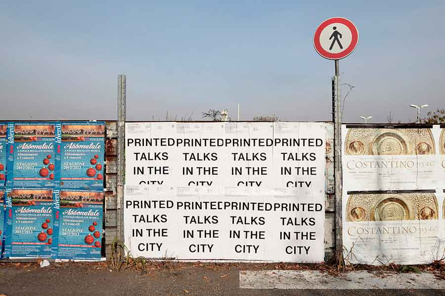 <em>Printed</em> Talks in the city, poster, photo: Salvatore Gozzo