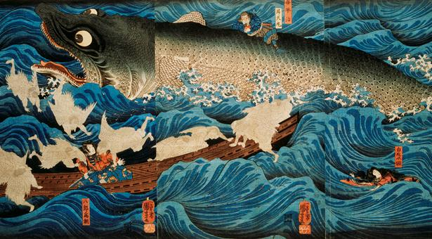 <em>Utagawa Kuniyoshi</em>, The Rescue of Minamoto no Tametomo by Goblins, ca 1851