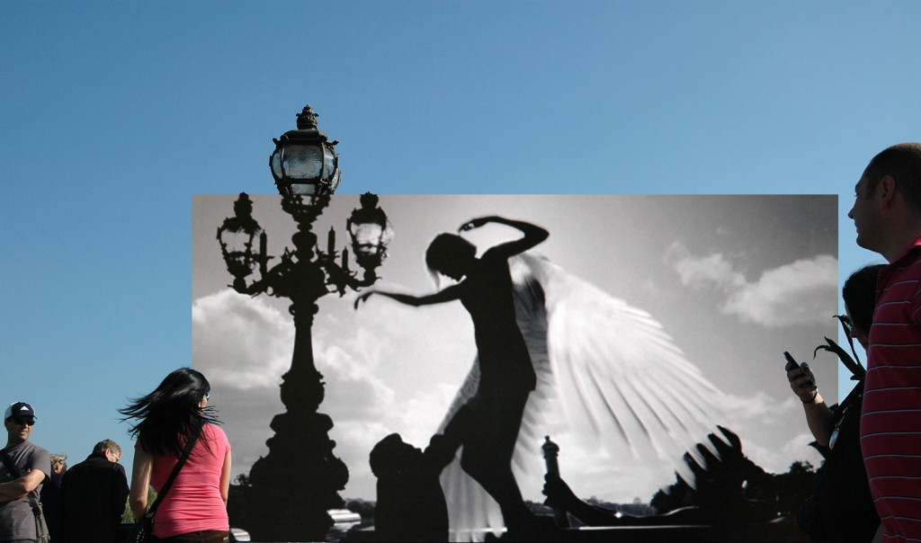 <em>Gea Casolaro</em>, Still here, Angel-A – Pont Alexandre III, 2009-2012, fotografia  digitale stampata su alluminio/digital photo print on aluminium,  cm 59X100, courtesy The Gallery Apart, Roma
