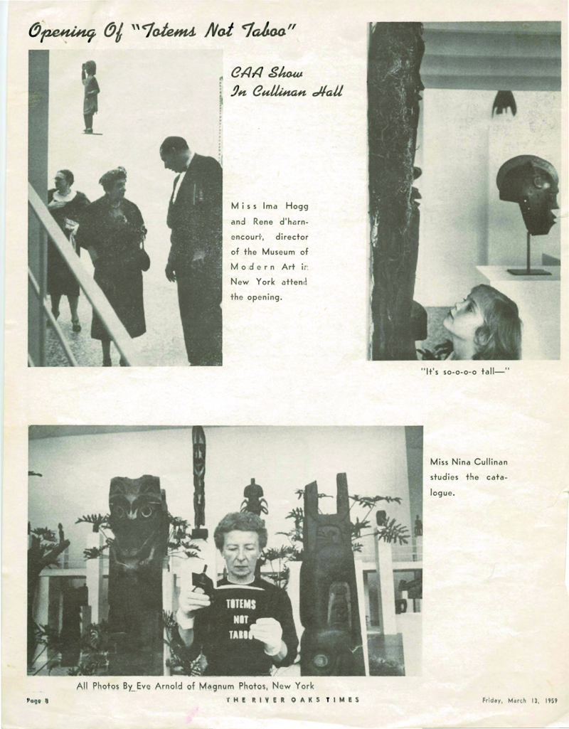 Correspondence and clippings, <em>Totems Not Taboo</em>, 2/26/1959-3/29/1959. Museum Of Fine Arts, Houston Archives. RG05:01 Registrar&rsquo;s Records, Exhibition Files.