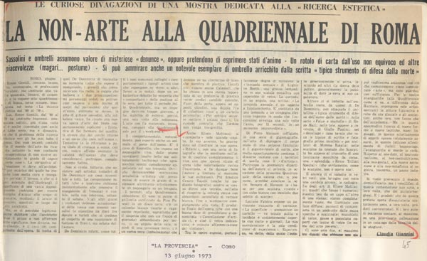 "Claudia Giannini, ""La non-arte alla Quadriennale di Roma,"" La Provincia, Como, 13 June 1973 . A typical reaction from the conservative press, accusing the show and the works exhibited of being excessively complex and self-referential."